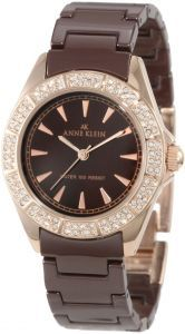 Anne Klein Women's 10/9682RGBN Brown Ceramic Bracelet Rosegold-Tone Watch (Watch)