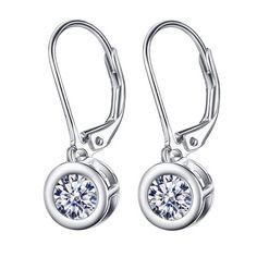 Discount Jewelry Sterling Silver Round Cubic Zirconia Lever-Back Earrings - - Shop, Earrings, Drop Fashion Earrings, Women's Earrings, Fashion Jewelry, Wedding Earrings, Discount Jewelry, Jewelry Party, Jewelry Gifts, Silver Rounds, Wholesale Jewelry