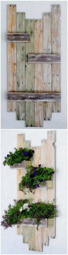 Pallets Wood Reclaimed Pallet Hanging Planter - Cheap Household Items Out of Reused Wood Pallets - Part 2 Let's craft few cheap household items for your home on your own and … Yard Furniture, Pallet Furniture, Furniture Ideas, Scrap Wood Projects, Diy Pallet Projects, Pallet Crafts, Wood Crafts, Diy Wood, Recycled Pallets