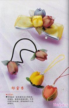 Florcitas y moños en organza y listón, para las niñas.