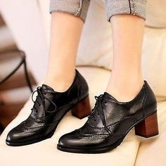 Top-Womens-Brogue-Lace-Up-Low-Thick-Heel-Oxfords-Retro-Boat-Shoes-US-Size-5-11