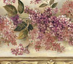 Beige And Burgundy Heirloom Lilacs Wallpaper Border By Chesapeake