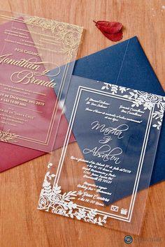 exquisite floral acrylic wedding invitations SWAL005 #wedding#weddinginvitations#stylishwedd#stylishweddinvitations #vellumweddinginvitations