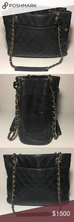 73edd3fcc709 Authentic Vintage CHANEL % Authentic Vintage CHANEL black quilted lambskin  classic tote bag with gold tone chains. Classic purse, a vintage CHANEL  black ...