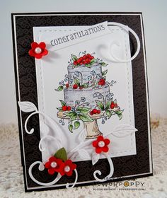 Stacy Morgan: Twinshappy: Wedding Congrats - 7/'11/16.  (Poppy Power Stamps: Dream Wedding).  (Pin#1: Anniversary/ Wedding. Pin+: Flourishes...).