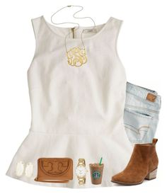 """""""1.0//Anna"""" by preppy-and-classy-girls ❤ liked on Polyvore featuring American Eagle Outfitters, J.Crew, Jennifer Zeuner, Kendra Scott, Tory Burch and Kate Spade"""