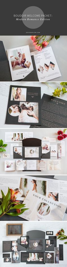 Beautifully designed Boudoir Welcome Packet for Adobe Creative Suite. Includes welcome greeting, session information, beauty guide, and more. Web Ui Design, Graphic Design, Welcome Packet, Tri Fold Cards, Referral Cards, Packaging Stickers, Creative Suite, Photo Packages, Boudoir Photography