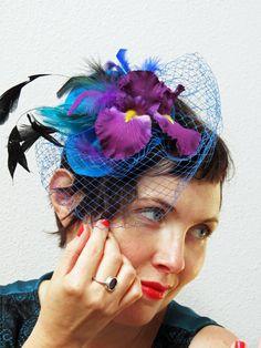 Purple Blue  fascinator  NIGHT IRIS. $37.00, via Etsy.