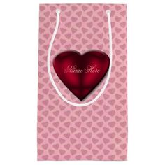 Red Satin Hearts on Pink Small Gift Bag -- Perfect for Valentine's Day giving.
