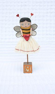 Handmade Folk Art Doll Bee Mine Valentine's Day by EelmonkeyArt