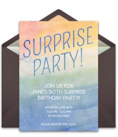 Tons of free birthday invitation templates. We love this free Watercolor Surprise invite, perfect for inviting friends and family to a memorable surprise 30th birthday party!