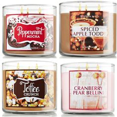 Peppermint Mocha, Spiced Apple Toddy, Toffee Crunch & Cranberry Pear Bellini Candles