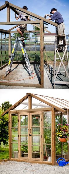 12 amazing DIY sheds and greenhouses: how to create beautiful backyard offices, studios and garden rooms with reclaimed windows and other materials. Greenhouse Shed, Greenhouse Gardening, Outdoor Greenhouse, Cheap Greenhouse, Greenhouse Heaters, Greenhouse Film, Homemade Greenhouse, Portable Greenhouse, Gardening Zones