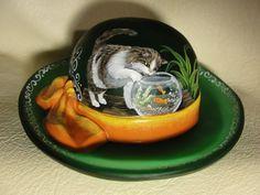 Fenton OOAK Green Hat Tabby Kitten Cats Fish Bowl  - CC Hardman.