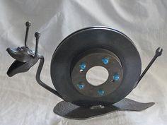 Speedy Snail ... Found object repurposed steel welded garden art