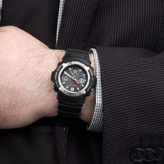 Man Weaning Casio Men's AWGM100-1ACR Tough Solar Power Multi-Band Atomic G Shock Watch