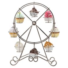 Francois et Mimi Metal Rotating Ferris Wheel Cupcake and Dessert Stand Holder, Chrome Finish, Updated Larger Cup Size Holds 8 Cupcakes Product rotates 360 degrees Made of food-safe, non-toxic iron Makes for a great party centerpiece Some assembly required Cake And Cupcake Stand, Cupcake Display, Cupcake Cakes, Cake Stands, Cupcake Queen, Cupcake Party, Big Top Cupcake, Paleo Cupcakes, Large Cupcake