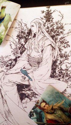 Sketch of King Thranduil on my sketchbook