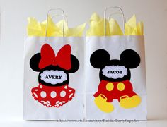 Mickey Mouse Favor Bags for any Mickey Mouse Party! Im so happy that I created this design, its so cute, bright and unusual. Very happy with how it turned out :) Goody bags are ready to use, no assembly is required. They are shipped flat. This listing is for favor bags with or without tissue paper, a digit on the bag is customizable. You can choose quantity, with or without tissue paper in the right corner under the price in Style. All options are described below. I decorate bags with…