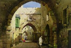 Rua de Jerusalem, s/d Noel Harry Leaver (Inglaterra, 1889-1951) aquarela e lápis sobre cartão, 38  x 27 cm Coleção Particular