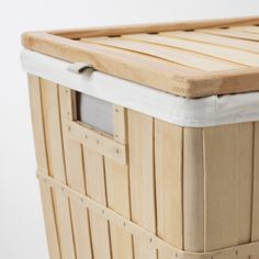 BRANKIS Laundry basket, 50 l. The wooden slats add natural warmth to the room - whether you place the laundry basket in the bedroom, walk-in closet or bathroom. Simply remove the lining and carry your laundry to the washing machine. Laundry Basket, Laundry Room, Hidden Laundry, Wooden Slats, Solid Pine, Walk In Closet, Washing Machine, Storage Chest, Cleaning Wipes