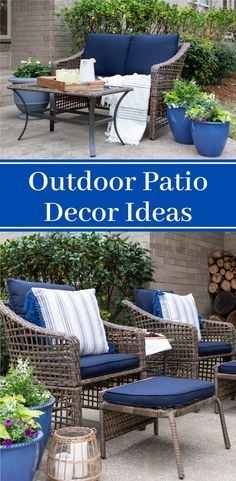 These outdoor patio decor ideas will help refresh your outdoor space. Even with limited budget or space, these patio ideas will help style your backyard for summer. Resin Patio Furniture, Outdoor Furniture Sets, Outdoor Decor, Backyard Furniture, Wicker Coffee Table, Fresco, Home Decor Inspiration, Decor Ideas, Backyard Patio