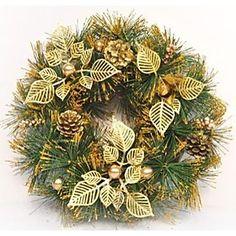 35cm Golden Christmas Wreath Doors Decorated Christmas Decorations