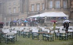 Rain, rain go away to that the Queen's first garden party of the summer won't be washed away.