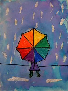 Color Wheel umbrellas, secondary and terciary colors Kindergarten Art Projects, Classroom Art Projects, School Art Projects, Art Classroom, First Grade Art, 2nd Grade Art, Grade 2, Pintura Glitter, Umbrella Art