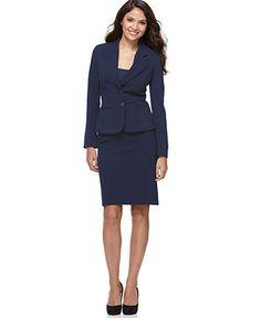 Nine West Suit, Three-Quarter-Sleeve Belted Jacket & Pencil Skirt ...