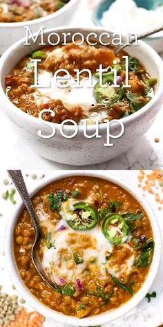 Lentil Soup Recipes, Healthy Soup Recipes, Vegan Dinner Recipes, Vegan Dinners, Healthy Cooking, Veggie Recipes, Whole Food Recipes, Cooking Recipes, Healthy Lentil Soup