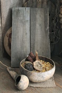 Primitive Early Cabin Look Wood Riser w Gourd Bowl Dipper Drieds Parched Corn | eBay