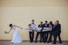 I love this! Even if you don't have groomsmen, you could do something similar with the grooms male friends. Hilarious! #weddingphotography