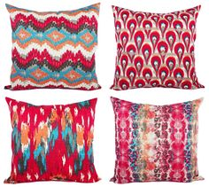 Two Red Ikat Throw Pillow Covers Red and Blue by CastawayCoveDecor, $30.00