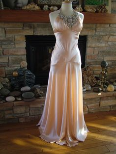 Always has been a beautiful look on Britt. Would be nice with lace shrug added. Peach Silk Jean Harlow 1930s Inspired Gown