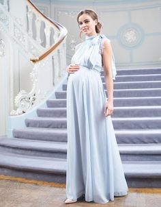 A stunning option in soft sky blue, Seraphine's Maternity & Nursing Gown with Neckline Tie is expertly tailored to flatter through pregnancy & beyond. Maternity Gowns Formal, Maternity Bridesmaid Dresses, Cute Maternity Outfits, Mismatched Bridesmaid Dresses, Maternity Fashion, Light Blue Maternity Dress, Nursing Gown, Maternity Nursing Dress, Baby Blue Wedding Dresses