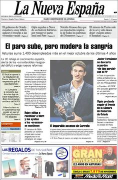 Los Titulares y Portadas de Noticias Destacadas Españolas del 6 de Noviembre de 2013 del Diario La Nueva España ¿Que le pareció esta Portada de este Diario Español?