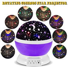 -- Check this awesome image : 3 Modes Rotating Star Light Projector, Hallomall 4LED Romantic Night Lamp Projection, Cosmos Star Sky Moon Lamp Projector for Kids Baby Bedroom, Christmas Gifts - Purple-  at Christmas Decorations.