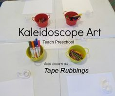 Kaleidoscope Art (Tape Rubbings) by Teach Preschool Teach Preschool, Preschool Arts And Crafts, Preschool At Home, Preschool Activities, Creative Teaching, Teaching Art, Creative Art, Teaching Ideas, Lessons For Kids