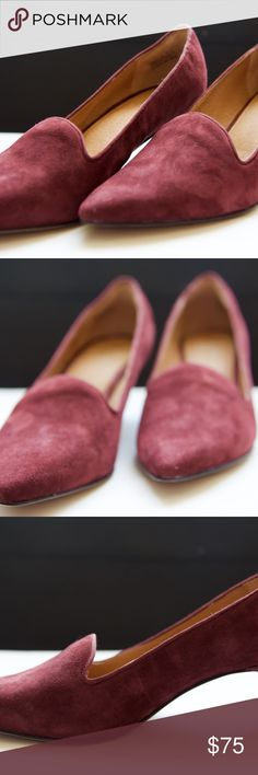 """Clarks Classy Burgundy Pump Suede pumps with leather lining create a soft, yet very stylish heel. Perfect for wearing all day due to OrthoLite footbed cushions. Great for denim or work wear! Burgundy color is versatile, yet adds a classy spin. Very comfortable, only worn once. Look like new! Rubber sole and heel is approximately 2.25"""". Clarks Shoes Heels"""
