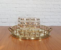 Vintage Brass Bamboo Tray Round Hollywood Regency Chinoiserie Coffee Table Centerpiece, Perfume Vanity Dresser Tray by FireflyVintageHome on Etsy