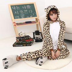Autumn and Winter Velvet Hooded Cartoon Animal Cute Beige Leopard Onesies Pajamas Kigurumi Adult Sleepwear $49.00  #Lovejoynet #Animal #Sleepwear