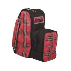 "Kensington KPP English Boot Carry All Bag, Deluxe Red Plaid, One Size by Kensington. $60.69. Handy side compartment to carry riding helmet. Center divider to keep boots from rubbing and scuffing. Brass-plated hardware for extra strength & padded shoulder strap for comfort. Can hold English boots up to 22"" tall. Two keepers on side to safely store crop. Able to hold English boots up to 22"" tall. Designed with a handy side compartment to carry your riding helmet, two keepers on t..."