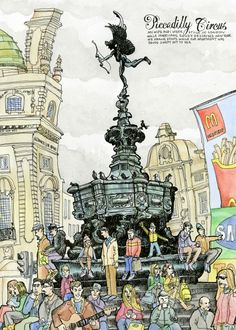 Illustration by Tommy Kane – Piccadilly Circus, London London Illustration, Travel Illustration, Graphic Design Illustration, Watercolor Sketch, Watercolor Illustration, Moleskine, Sketches Of People, Landscape Drawings, Urban Sketchers