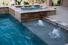 Pool W/ Raised Spa & Sun Shelf W/ Bubblers                      Poolandsp.com