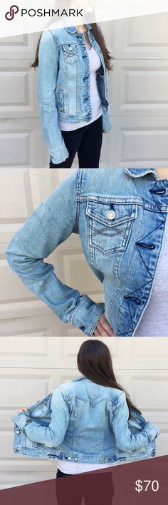 """Abercrombie & Fitch Denim Jacket Pre-loved amazing condition! Distressed Denim. Cozy stretchy feel to it. This jacket is seriously amazing and I would not be selling if it fit me. Made of 98% Cotton/2% spandex Size S Measurements: Under arm to under arm flat across is approx. 19"""".  Back of neck to bottoms hem is approx. 21"""".   Price is very firm! Bundle discounts! 15% off 3 Abercrombie & Fitch Jackets & Coats Jean Jackets"""