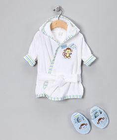White & Blue Monkey Bathrobe & Slippers