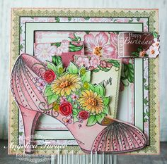 Happy Birthday Floral Shoe using Heartfelt Creations products.