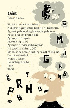 Poetry Book by Peter Donnelly, via Behance Scottish Gaelic, Gaelic Irish, Irish Poems, Finnegans Wake, Irish Language, Irish People, Irish Culture, English Vocabulary Words, Irish Celtic
