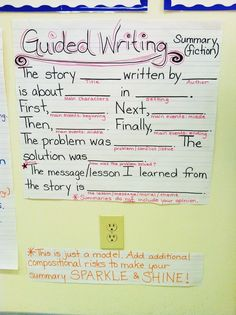 Guided Writing Summary Anchor Chart {image only}
